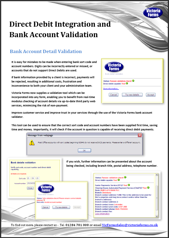 Direct Debit Integration Bank Account Validation
